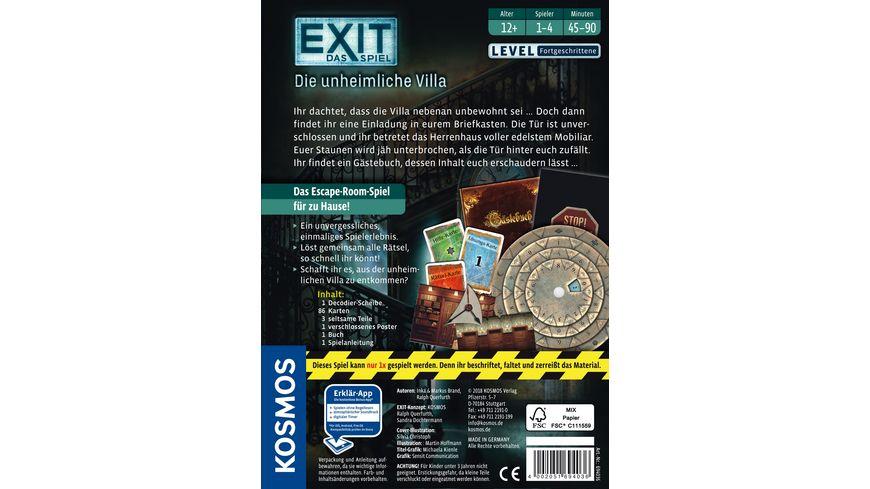 KOSMOS Exit Das Spiel Die unheimliche Villa