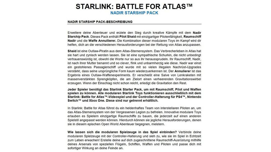 STARLINK BATTLE FOR ATLAS NADIR STARSHIP PACK