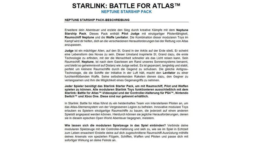 STARLINK BATTLE FOR ATLAS NEPTUNE STARSHIP PACK
