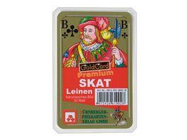 Nuernberger Spielkarten Skat Premium Leinen franzoesisches Bild im Klarsichtetui