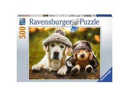 Ravensburger Puzzle Hund mit Muetze 500 Teile
