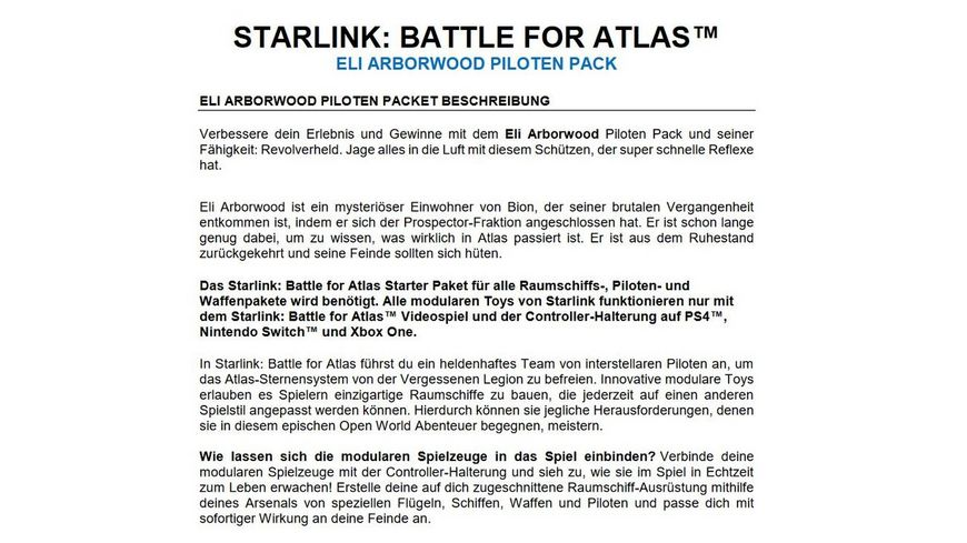STARLINK BATTLE FOR ATLAS ELI ARBORWOOD PILOTEN PACK