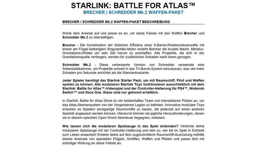 STARLINK BATTLE FOR ATLAS BRECHER SCHREDDER Mk 2 WAFFEN PAKET