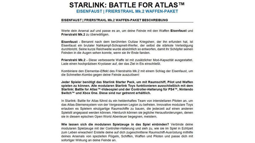 STARLINK BATTLE FOR ATLAS EISENFAUST FRIERSTRAHL Mk 2 WAFFEN PAKET