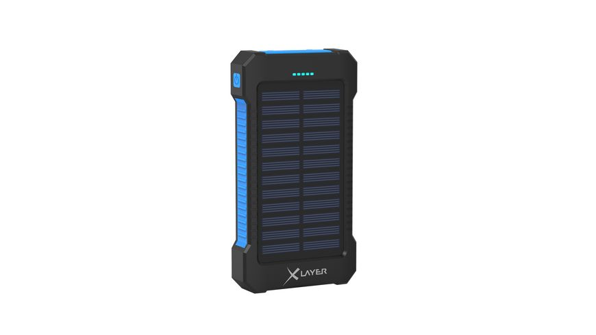 Xlayer Zusatzakku Powerbank PLUS Solar Black Blue 8 000mAh