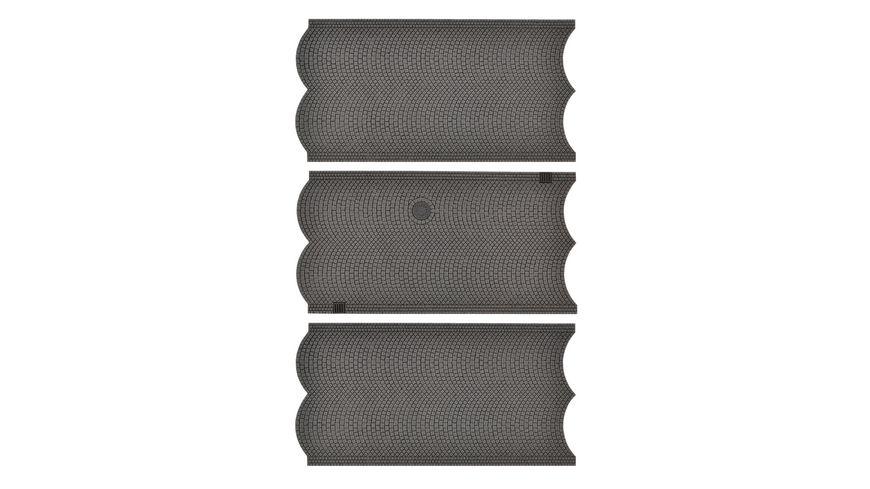 VOLLMER 48240 - H0 Straßenplatte Kopfsteinpflaster, 3 Stück, L 15 x B 8 cm