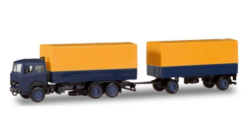 Herpa 309578 Iveco Magirus Planen Haengerzug gelb blau
