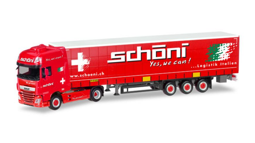 Herpa 309301 DAF XF SSC Gardinenplanen Sattelzug Schoeni CH
