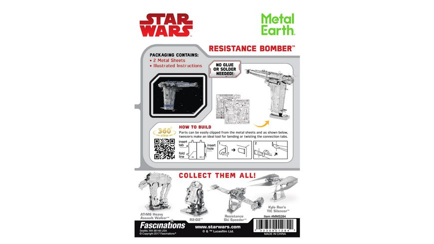 Metalearth Metal Earth STAR WARS EP 8 Resistance Bomber