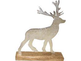 Metall Hirsch auf Holz Fuss