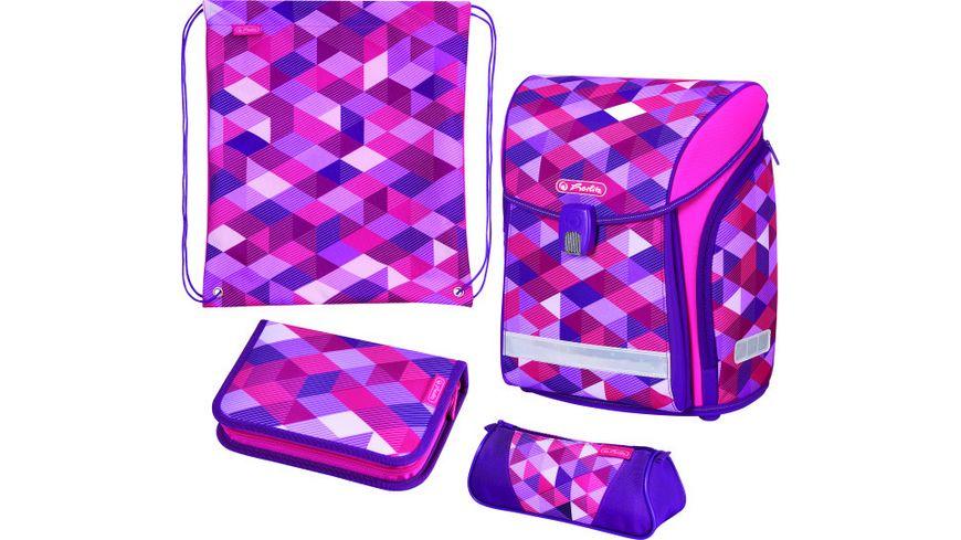 herlitz Schulranzen Set Midi Plus 4teilig Pink Cubes