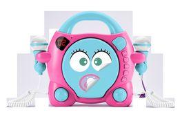 CD Player CD59 Girl mit 2 Mikrofonen tuerkis pink