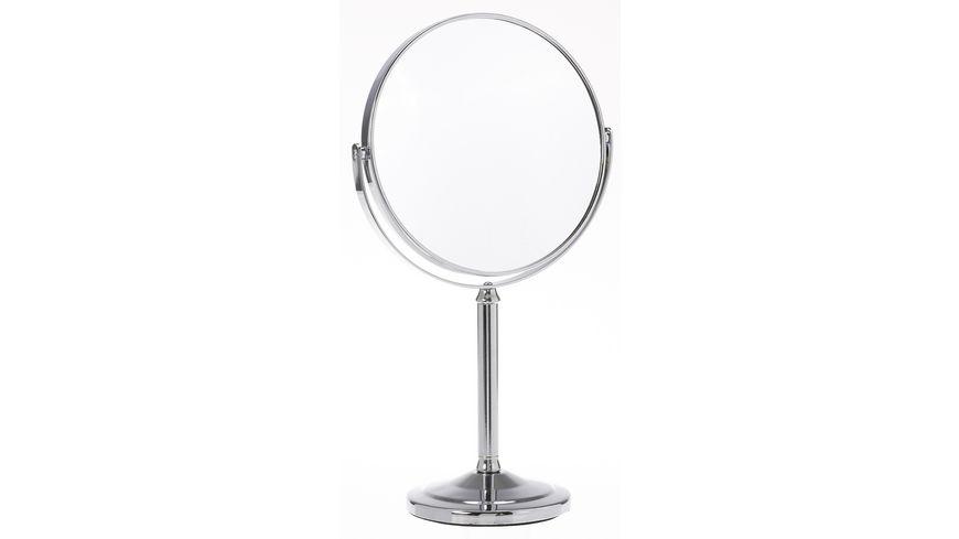 Stellspiegel 5x Vergroesserung silber mit hohem Fuss