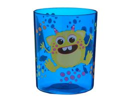 Mundbecher Monster blau transparent