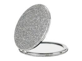 Taschenspiegel 1 und 2x Vergroesserung silber Glitzer