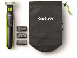 PHILIPS OneBlade Bundle inkl 3 Aufsaetze mit Reisebeutel