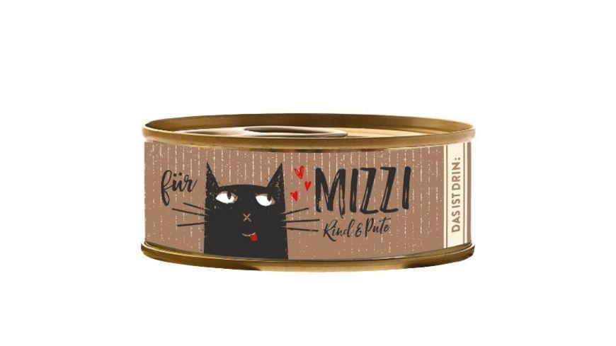 Mizzi Nassfutter fuer Katzen mit Rind und Pute