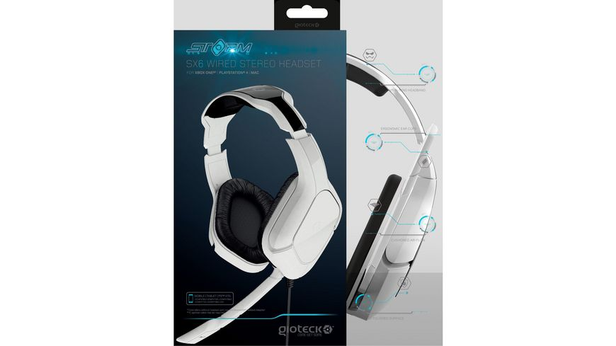 SX6 Storm Wired Stereo Headset white PC PS4 Xbox One Mac