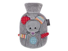 fashy Waermflasche 0 8 L mit Flauschbezug Maus Mimi