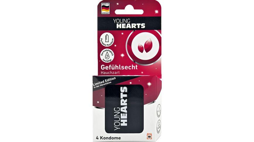 YOUNG HEARTS Kondome Metalldose 4 Stueck