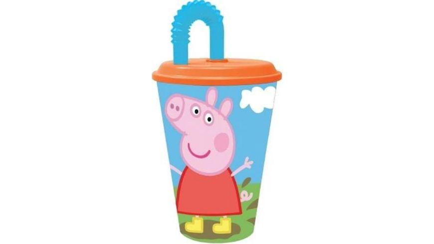 p os Handel Peppa Pig Trinkbecher mit Strohhalm