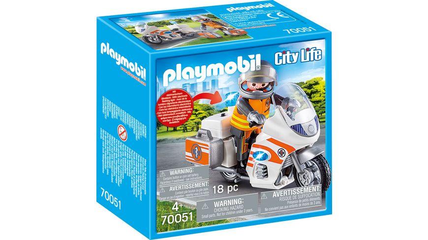 PLAYMOBIL 70051 City Life Notarzt Motorrad mit Blinklicht