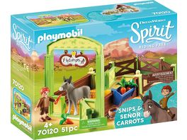 PLAYMOBIL 70120 Spirit Riding Free Pferdebox Snips und Herr Karotte