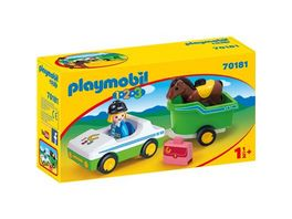 PLAYMOBIL 70181 1 2 3 PKW mit Pferdeanhaenger