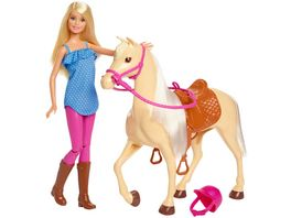 Barbie Pferd mit Puppe blond Anziehpuppe Modepuppe Pferde Spielzeug