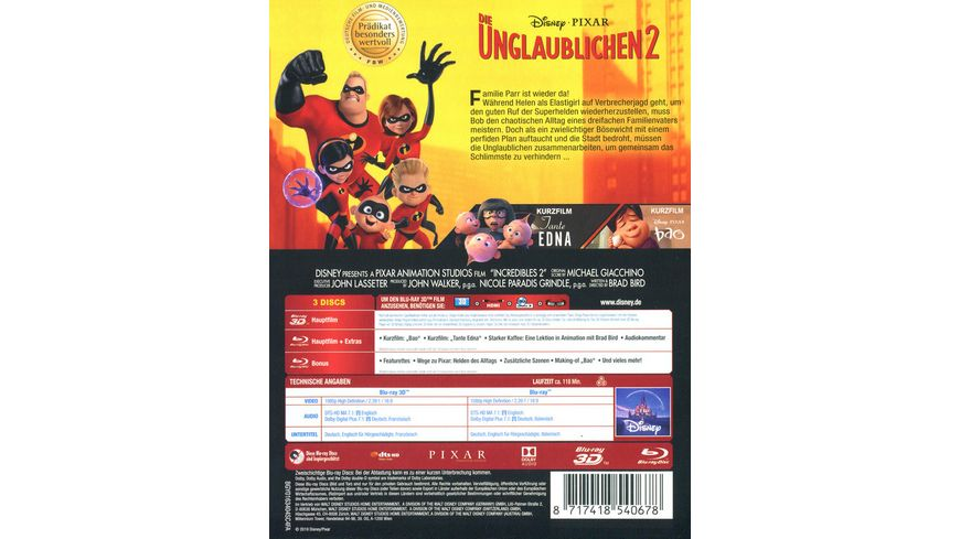 Die Unglaublichen 2 Blu ray 2D Bonus Blu ray