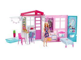 Barbie Ferienhaus mit Moebeln und Puppe blond Puppenhaus mit Zubehoer