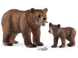Schleich 42473 Wild Life Grizzlybaer Mutter und Junges