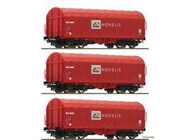 Roco 76095 3 tlg Set Schiebeplanenwagen Novelis