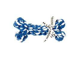 LABONI BONNIE BONE robustes Tierspielzeug aus zahnpflegendem Baumwolltau blau