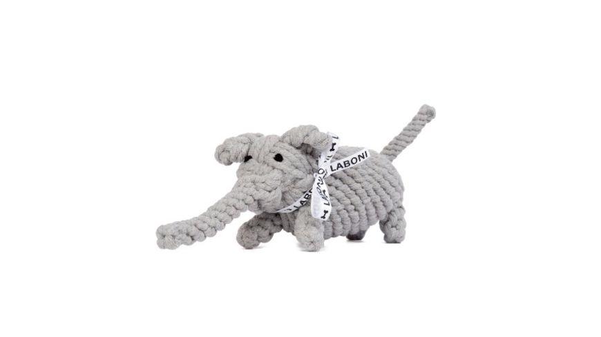 LABONI ELTON ELEFANT robustes Tierspielzeug aus zahnpflegendem Baumwolltau