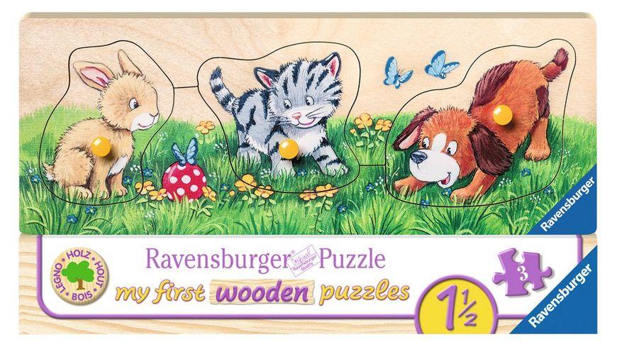 Ravensburger Puzzle my first wooden puzzle Niedliche Tierkinder 3 Teile