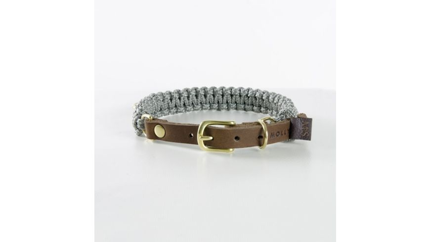 MOLLY STITCH Touch of Leather Halsband Grey X Large