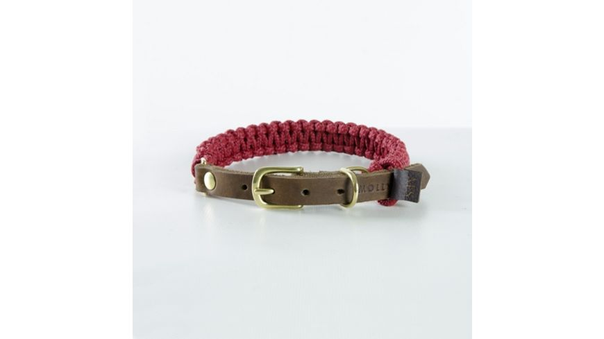 MOLLY STITCH Touch of Leather Halsband Redwine X Large