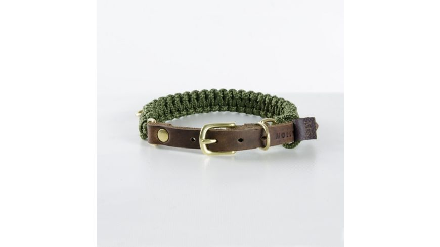 MOLLY STITCH Touch of Leather Halsband Military XX Large