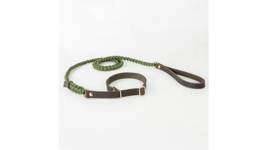 MOLLY STITCH Touch of Leather Retriever Leine Military max 70cm