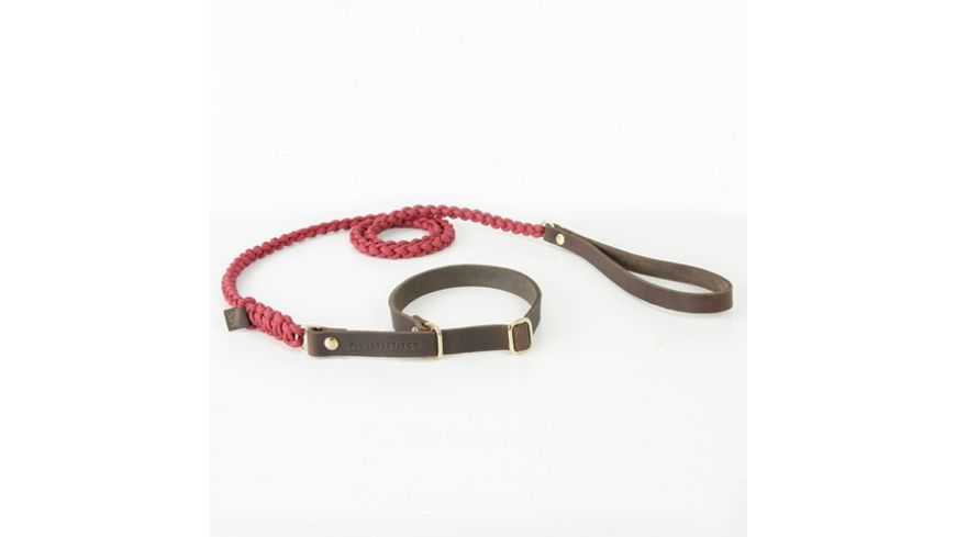 MOLLY STITCH Touch of Leather Retriever Leine Redwine max 70cm