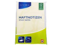 PAPERZONE Haftnotizen kariert gelb 105 x 148mm 100 Blatt