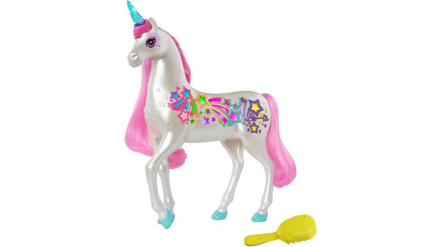 Mattel Barbie Dreamtopia Regenbogen Einhorn mit magischer Buerste fuer Musik und Lichter