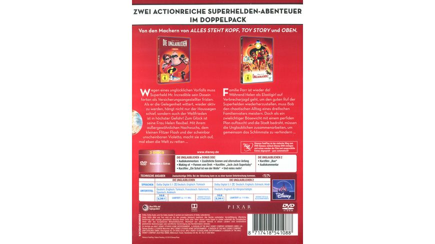 Die Unglaublichen 1 2 Doppelpack 3 DVDs