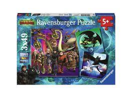 Ravensburger Puzzle Dragons Drachenzaehmen leicht gemacht 3x49 Teile
