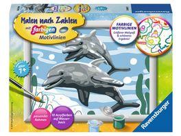 Ravensburger Beschaeftigung Malen nach Zahlen Freundliche Delfine