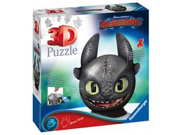 Ravensburger Puzzle 3D Puzzle Dragons 3 Ohnezahn mit Ohren 72 Teile