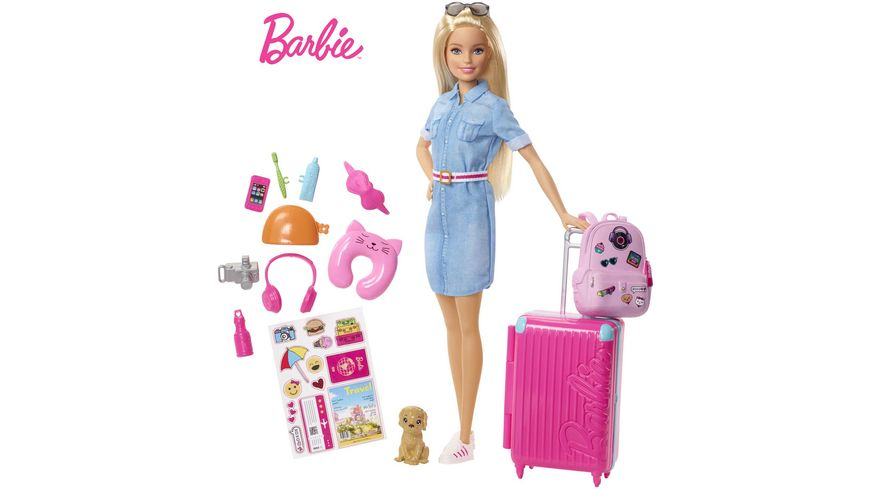 Mattel Barbie Spielset Travel Puppe mit Zubehoer