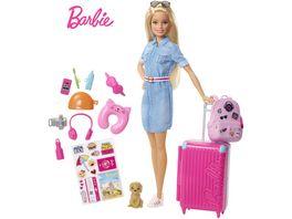 Barbie Reise Puppe blond mit Zubehoer Anziehpuppe Modepuppe Barbie Urlaub
