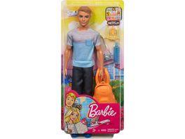 Barbie Ken Reise Puppe blond mit Zubehoer Anziehpuppe Modepuppe Barbie Urlaub